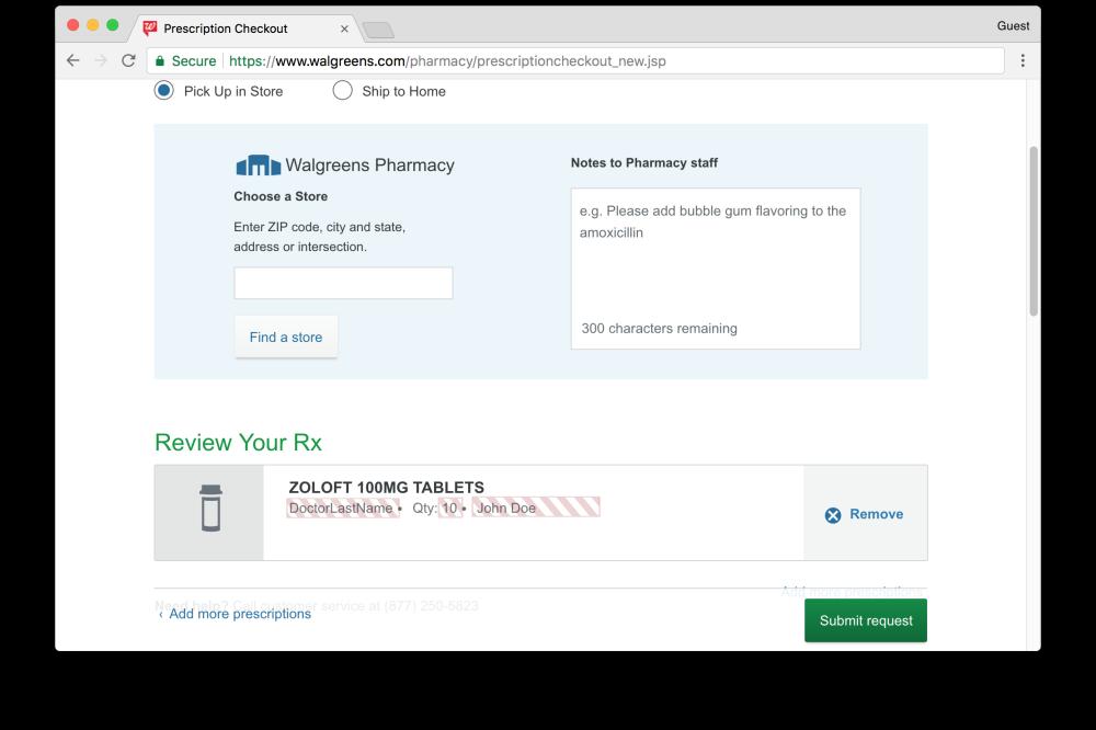 Walgreens prescription request page leaks prescription information